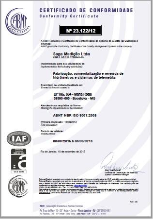 Saga Renova Certificação ISO 9001:2008