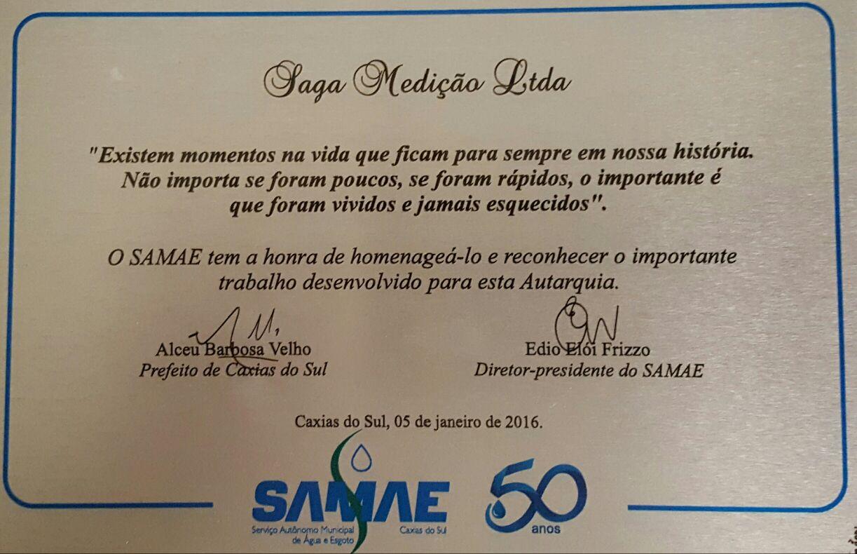 Saga recebe Homenagem do Samae de Caxias do Sul